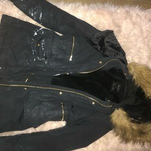 *HAS PAINT STAIN* ZARA Women's Black Coat